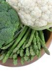 Broccoli, asparagus, cauliflower Stock Images