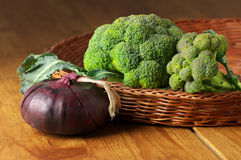 Broccoli in basket Royalty Free Stock Photo