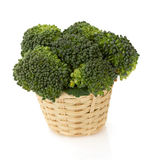 Broccoli in basket on white Royalty Free Stock Photo