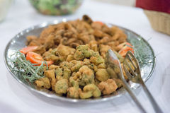 Broccoli in batter at buffet table. Royalty Free Stock Photos