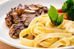 Broccoli beef with pasta Royalty Free Stock Photography