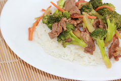 Broccoli Beef on Rice Royalty Free Stock Images