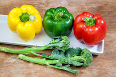 Broccoli and bell pepper fresh green red and yellow Stock Photography