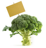 Broccoli with a blank placard Royalty Free Stock Image
