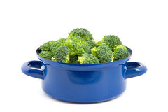 Broccoli in a blue cooking pan Royalty Free Stock Photo