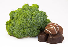 Broccoli for the Body, Chocolate for the Soul Royalty Free Stock Images