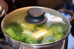 Broccoli boiling. Cooking up a healthy meal Stock Image