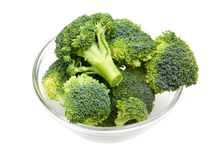 Broccoli in bowl. Broccoli in glass bowl on white background Stock Image