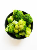 Broccoli in bowl. Isolated on white background Royalty Free Stock Images
