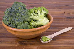 Broccoli in a bowl with a spoon. Broccoli in a bowl on a wooden surface with a spoon Stock Images