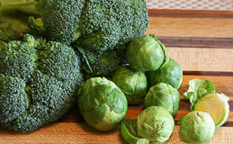 Broccoli and Brussels Sprouts Stock Photos