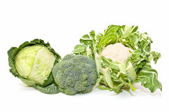 Broccoli, cabbage, cauliflower Royalty Free Stock Photo
