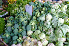 Broccoli and cabbage at Farmers Market Stock Photo