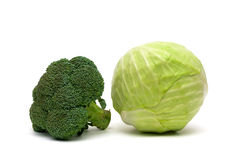 Broccoli and cabbage isolated on a white background Royalty Free Stock Images