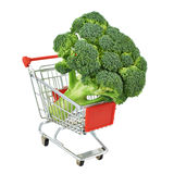 Broccoli cabbage in a shipping cart Royalty Free Stock Images