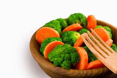 Broccoli and carrots on a plate. Royalty Free Stock Photos