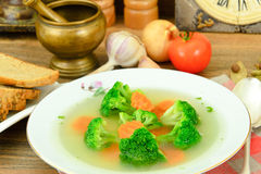 Broccoli and Carrots Soup. Diet Fitness Nutrition Royalty Free Stock Photos