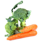Broccoli and Carrots. On white background Stock Photo