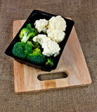 box of Broccoli and Cauliflower Stock Images