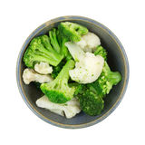 Broccoli Cauliflower In Bowl Mixture Stock Images