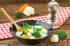 Broccoli, cauliflower and carrot soup Royalty Free Stock Image