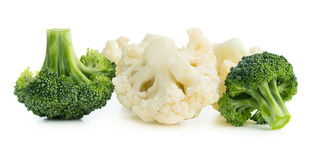 Broccoli and cauliflower. Fresh ripe organic broccoli and cauliflower isolated on white background Stock Images