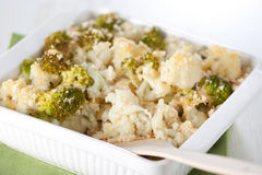 Broccoli and cauliflower gratin Stock Photography