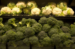 Broccoli and cauliflower. The healthiest vegetables in market stock photography