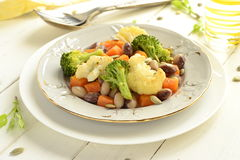 Broccoli, cauliflower, squash and beans with pumpkin seeds Stock Photography