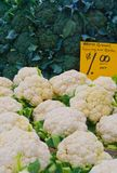 Broccoli and Cauliflowers at farmers market Stock Images