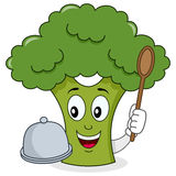 Broccoli Character with Tray and Spoon Royalty Free Stock Photography
