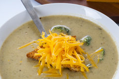 Broccoli and Cheddar Cheese Soup Stock Image