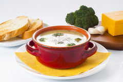 Broccoli and Cheddar Cheese Soup Stock Photography