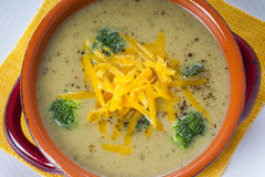 Broccoli and Cheddar Cheese Soup Royalty Free Stock Photography
