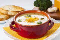 Broccoli and Cheddar Cheese Soup Royalty Free Stock Images