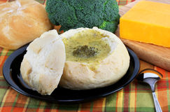 Broccoli Cheddar Cheese Soup in Bread Bowl Stock Photos