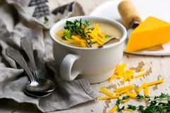 Broccoli cheddar chicken and dumpling soup stock photography