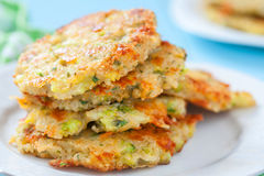 Broccoli Cheddar Fritters with Quinoa Stock Images