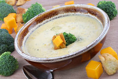 Broccoli Cheddar Soup Stock Photo
