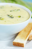 Broccoli and cheddar soup Royalty Free Stock Photo