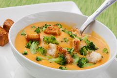 Broccoli - Cheddar Soup Stock Images