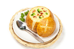 Broccoli cheese and bacon soup Royalty Free Stock Photo