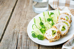 Broccoli cheese stuffed crumbs chicken Royalty Free Stock Images