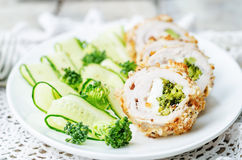 Broccoli cheese stuffed crumbs chicken Stock Images