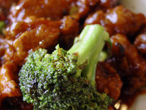 Broccoli with general Tso chicken Stock Photo