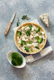 Broccoli , chicken and cheese pie  quiche Royalty Free Stock Photo