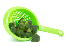 Broccoli in a colander royalty free stock photos