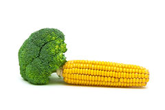 Broccoli and corn on the cob isolated on white background Royalty Free Stock Photos
