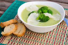 Broccoli cream soup with cheese Stock Images