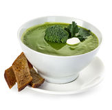 Broccoli cream soup close-up isolated Stock Image